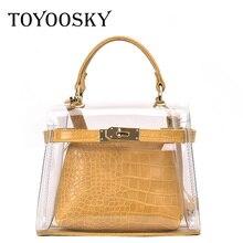 TOYOOSKY 2019 Hot Sale Women Transparent Flap Bag Clear PVC Small Crossbody Alligator Ladies Handbag Shoulder Bags Female