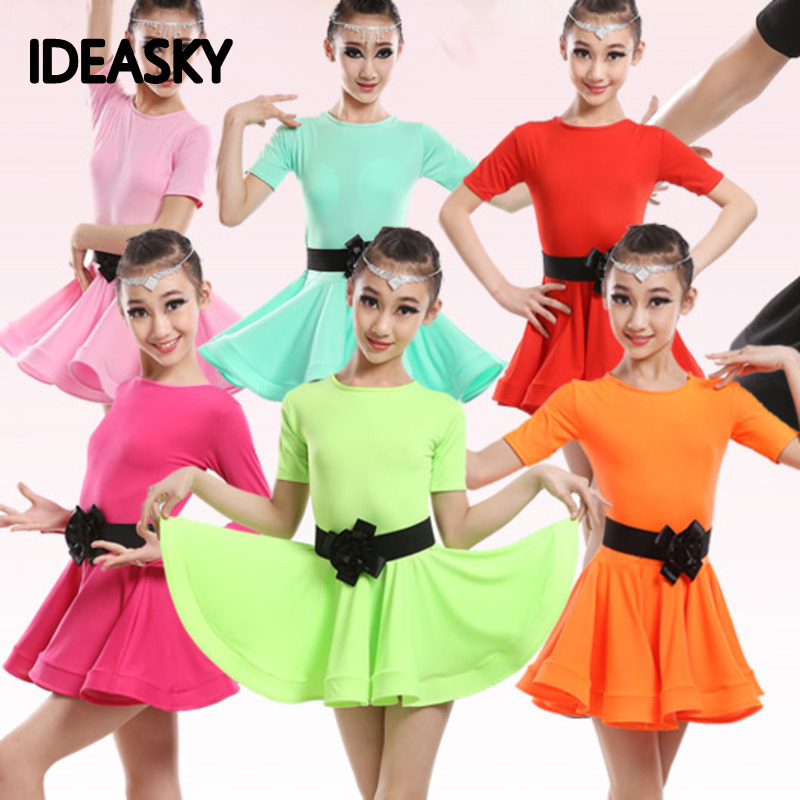 2018 NEW Kids Latin Salsa Ballroom Dance Dress Girls Dancewear Costumes