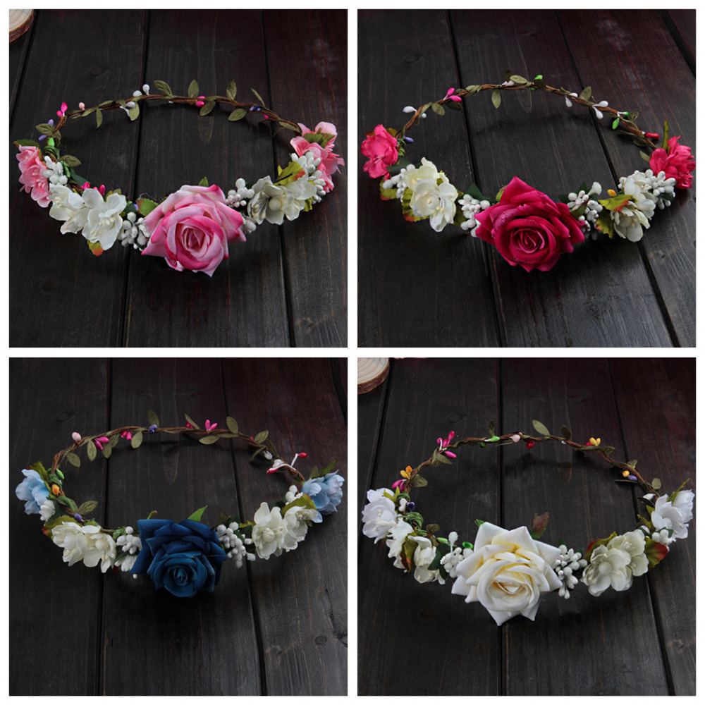 Women Wedding Flower Hair Garland Crown Headband Floral Rose Handmade Vacation