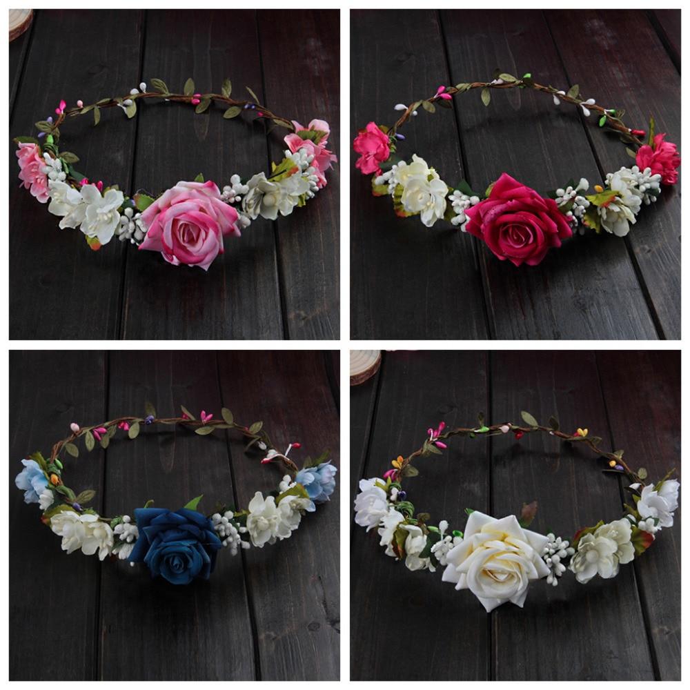 Women Wedding Flower Hair Garland Crown Headband Floral Rose Handmade Vacation