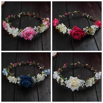 Women Wedding Flower Hair Garland Crown Headband Floral Rose Handmade Vacation - discount item  24% OFF Wedding Accessories