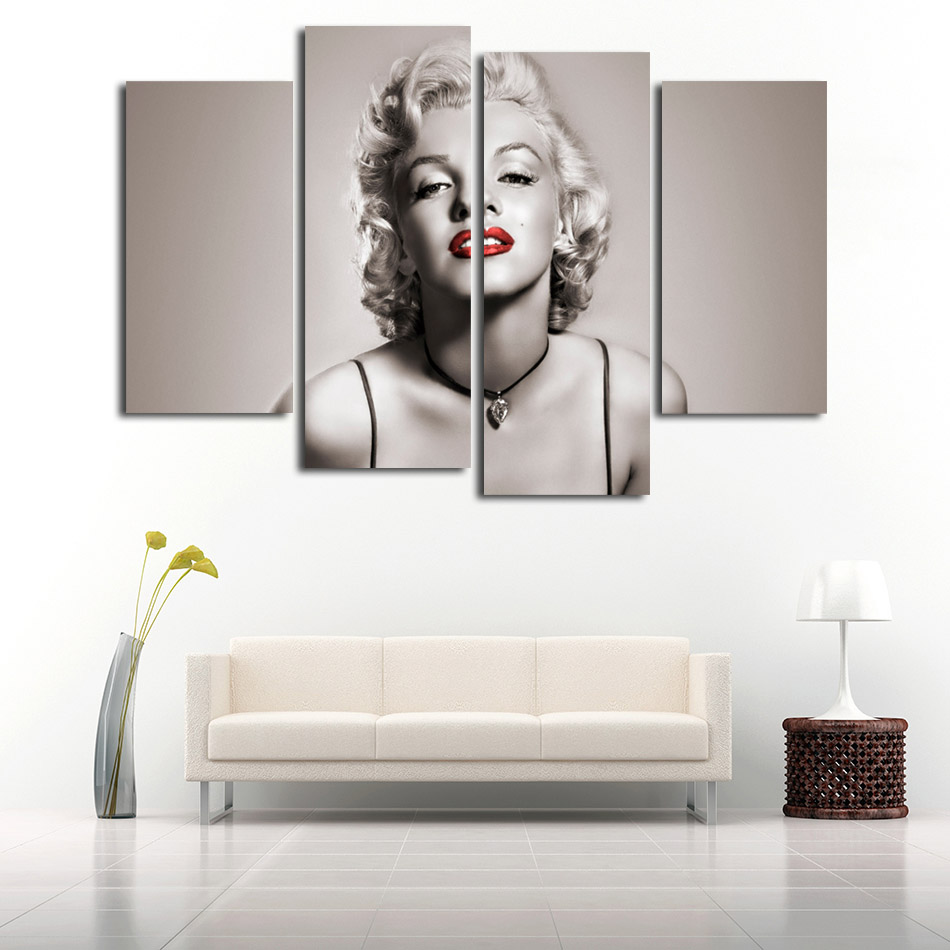 Printed On Canvas Paintings Wall Art Pictures Home Decor For Living Room Marilyn Monroe Sexy Photos