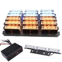 Luces LED estroboscópicas de emergencia para coche, parrilla frontal de 3 modos, amarillo, rojo, azul, 2x9, 4x9, 6x9, 8x9, cubierta, luz de advertencia intermitente, 12V