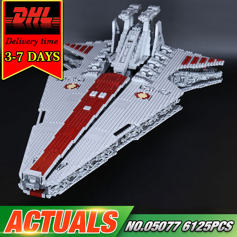 DHL LEPIN 05077 Star Series War Building Blocks Set 6125pcs UCS Republic Cruiser Compatible Brick Military Toy For Boy Children мастерок бетонщика трапеция профи 180мм fit hq 05077