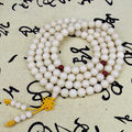 9mm Tibet Buddhism 108 White Bodhi Root Prayer Beads Mala Necklace