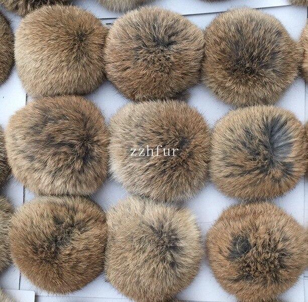 6pcs/lot 8cm Natural Real Rabbit Fur Ball Pom Poms Fluffy Fur Pompom DIY For Women Kids Winter Hat Skullies Beanies Knitted Cap