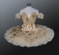 Velour Bodies Beige Color Adult Professional Tutu Skirts For Ballet Performances Show Priness Ballerina Dance Costume AT1150