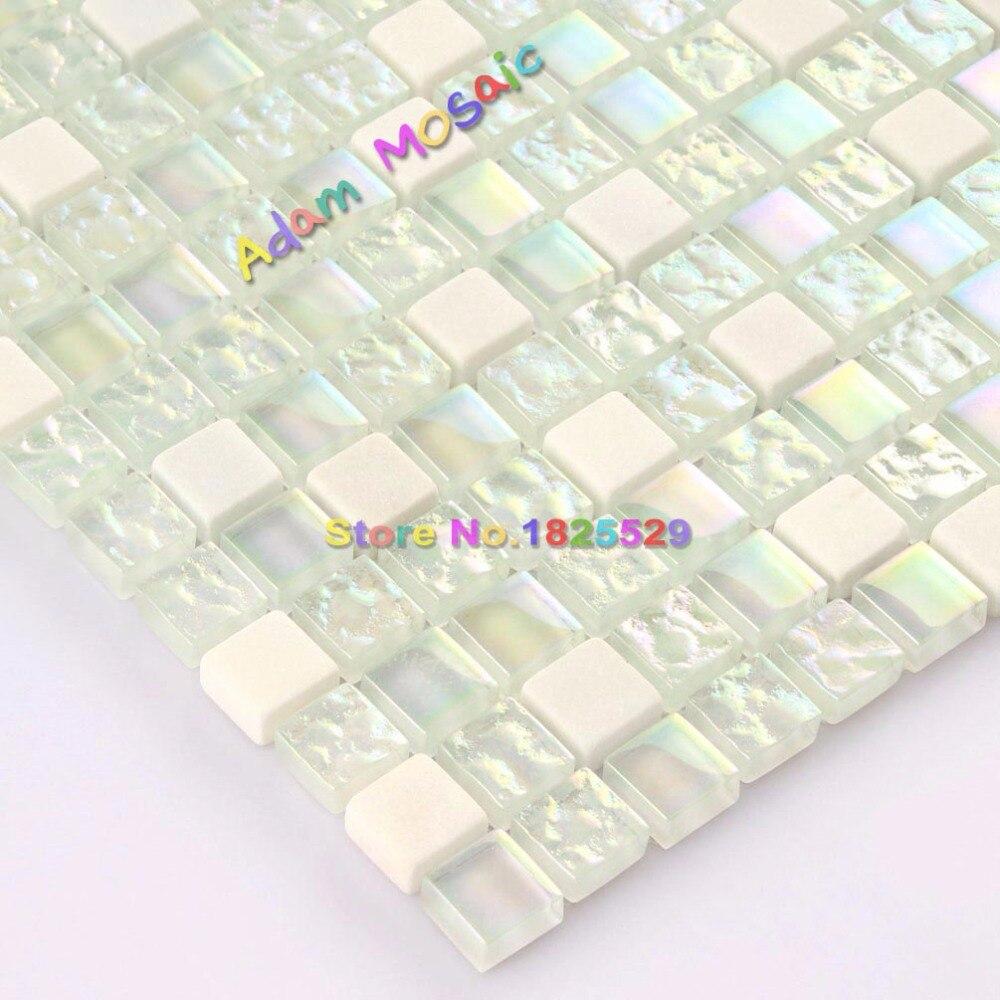 White Glass Tiles Iridescent Mosaic Kitchen Backsplash Stone Tile ...