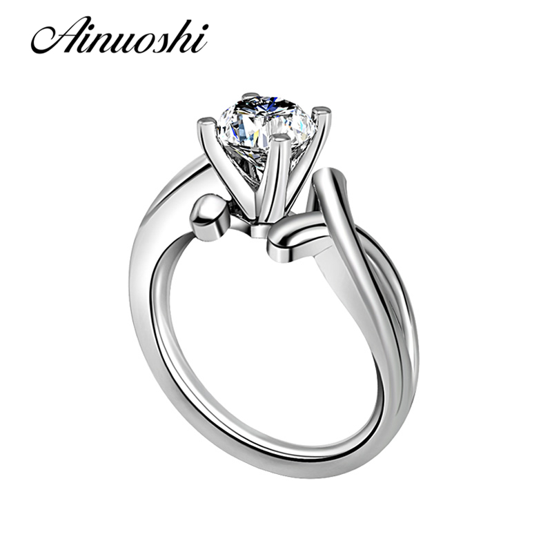 New Classic 1 Carat Round Cut Women Solitaire Wedding Ring NSCD Engagement Fashion Jewelry Real 925 Sterling Silver Wedding Ring jewelrypalace classic wedding solitaire ring for women pure 925 sterling silver simple wedding jewelry fashion gift