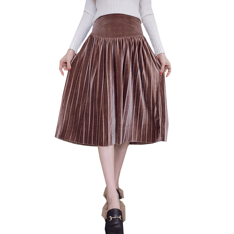 Autumn Fashion Pregnant Women Pleated Skirt Elastic High Waist Vintage Pregnancy Clothes Elegant Solid Maternity Skirts 4 Colors dabuwawa two colors winter basic pleated skirt women long skirt solid office elegant black woolen skirt