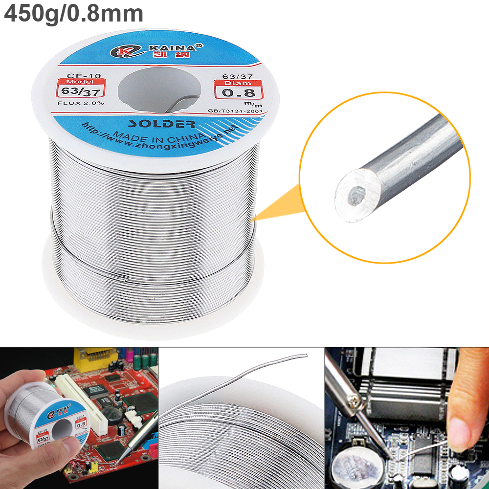 63/37 450g 0.8mm 0.5mm-2.0mm Tin Fine Wire Core Rosin Solder Wire With 2% Flux And Low Melting Point For Electric Soldering Iron