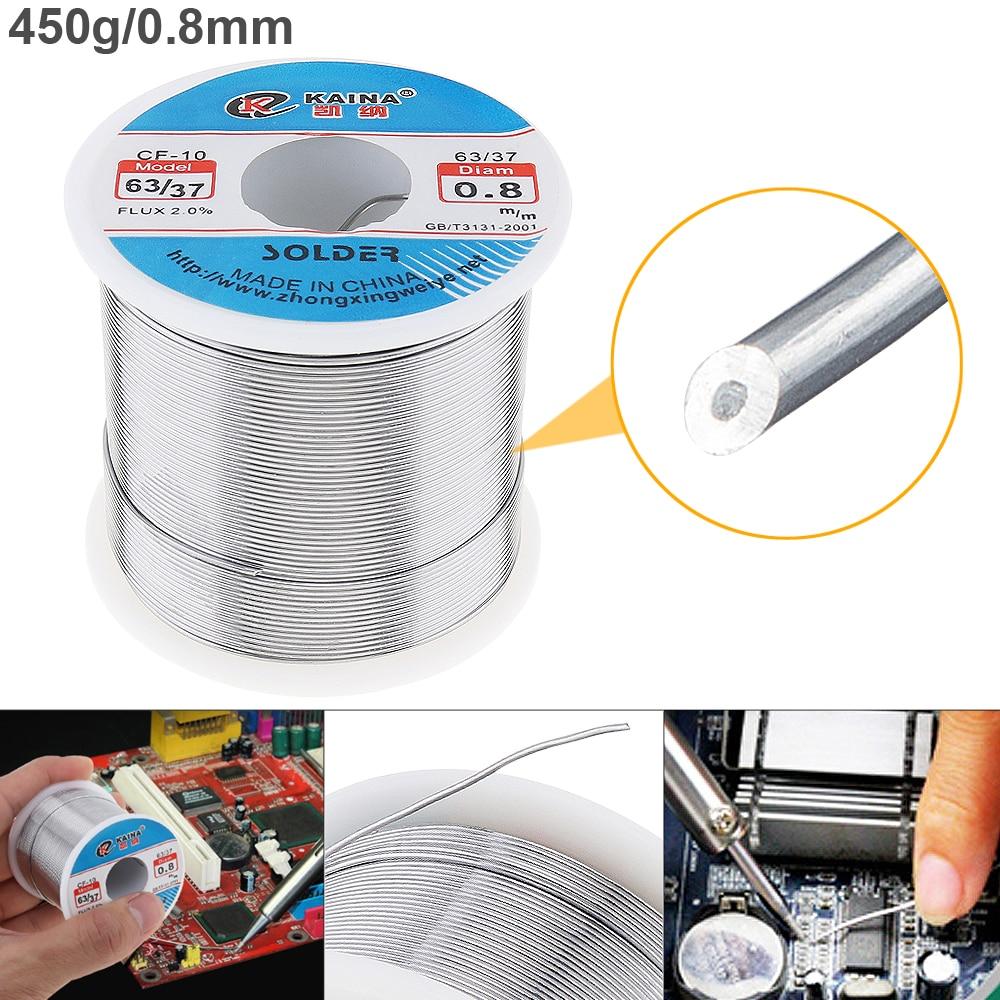 63/37 de 450g 0,8mm 0,5mm-2,0mm hojalata bien núcleo de alambre resina Alambre de soldadura con 2% de flujo Y bajo punto de fusión eléctrica de soldadura de hierro
