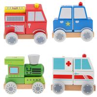 3D Puzzle Wooden Toy Car Vehicle Building Blocks Stacking Game Early Learning Educational Toys Gift for Children Toddler Kids