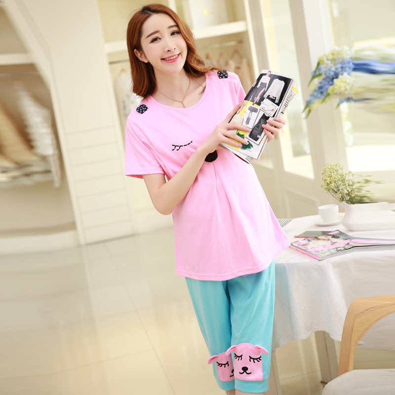 2016 Cotton Broadcloth Full New Summer Maternity Pajamas Set Month Postpartum Lactation Clothes To Go Out Of Fashion Feeding