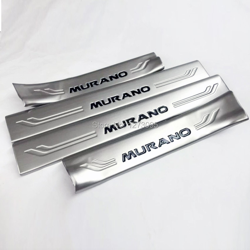 for renault kadjar 2016 stainless steel side door sill protector pedals scuff plate guards trim auto model interior moulding Stainless Steel Interior Scuff Plate Sill Inner Threshold Strip Welcome Pedal for 2015 2016 Nissan Murano Auto Styling Accessory