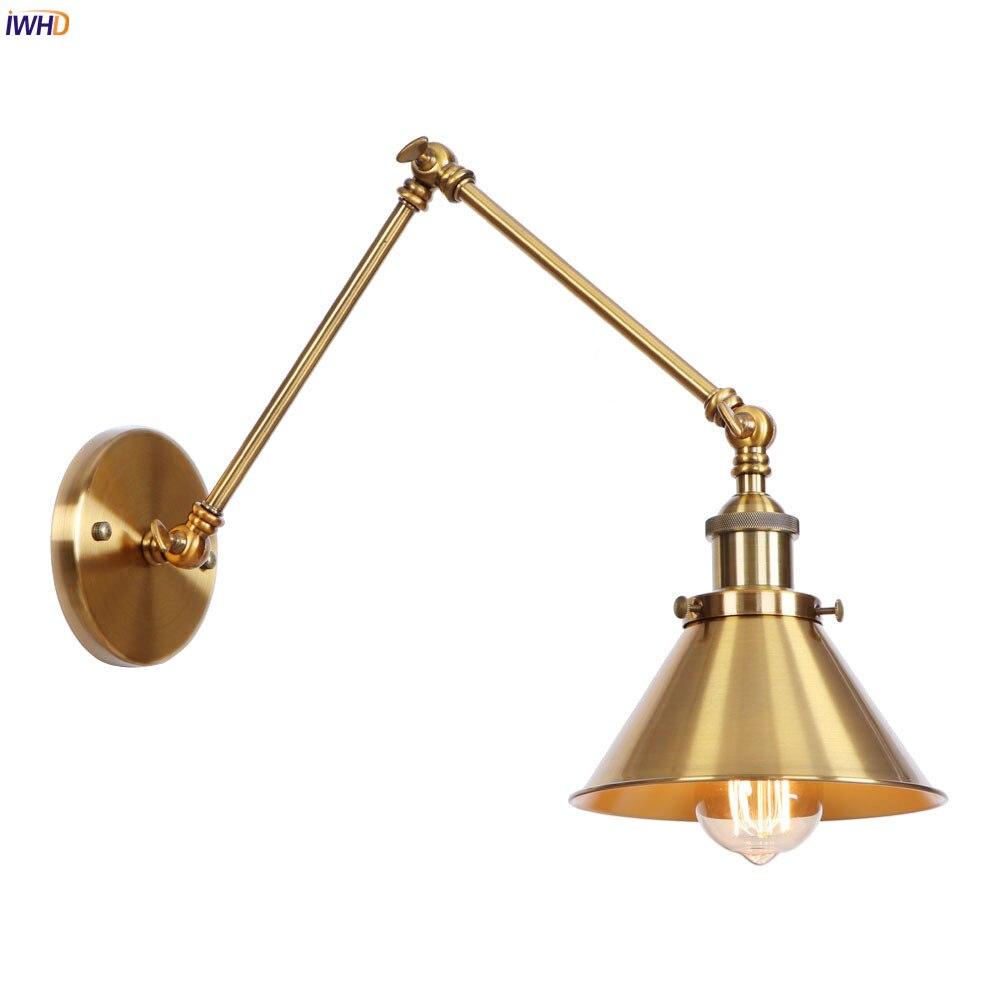 IWHD Golden Loft Industrial Wall Light Fixtures Wandlampen Retro Vintage Edison Wall Sconce Lampara Pared Swing Long Arm Lamp