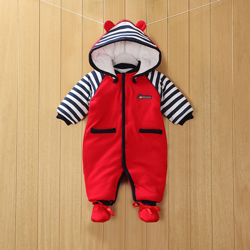 Купить с кэшбэком 2020 New Baby Clothes Detachable Newborn Baby Cotton One-piece Thick Hooded Baby Warm Winter Clothes Baby Romper Animal Style