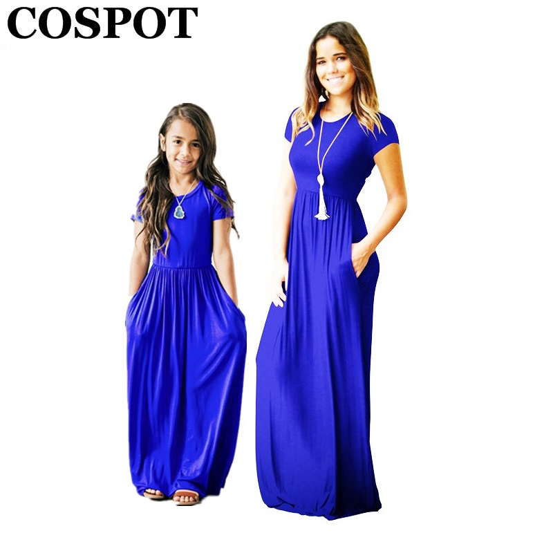 COSPOT Mother and Daughter Summer Dress Girls and Mom Bohemian Beachwear Long Dress Short-sleeved Plain Party Dress 2018 New 40E