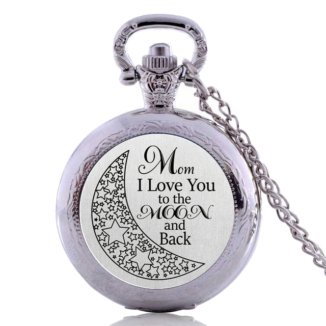 Antique Creative Mom I Love You to the Moon and Back Womens Quartz Pocket Watch