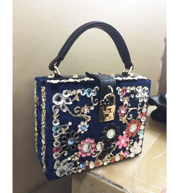 Gold Crystal Flowers Velvet Clutches Party Purse Women Shoulder Bag Luxury Diamond Evening Bags Ballot Lock Handbag Clutch bag