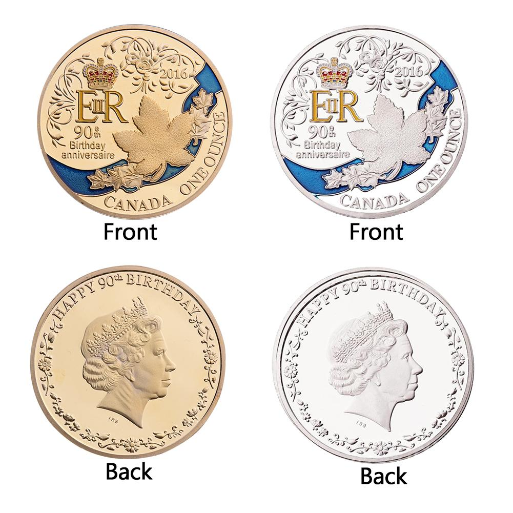ER Queen 90th Anniversary Gold Silver Plated Commemorative Collectible Coin Alloy Commemorative Coins Dia 40mm