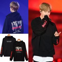 LUCKYFRIDAYF BTS JIMIN Concert 2017 The Same Style Hoodies Fashion Kpop Men Cap Hooded Sweatshit Leisure