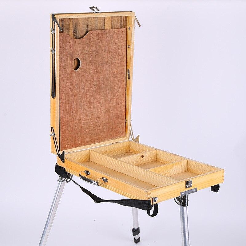 Bureau ordinateur portable boîte en bois chevalet peinture grand espace matériel accessoires multifonctionnel peinture valise Art fournitures artiste