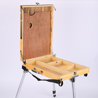 Desktop Laptop Wooden Box Easel Painting Large Space Hardware Accessories Multifunctional Painting Suitcase Art Supplies Artist