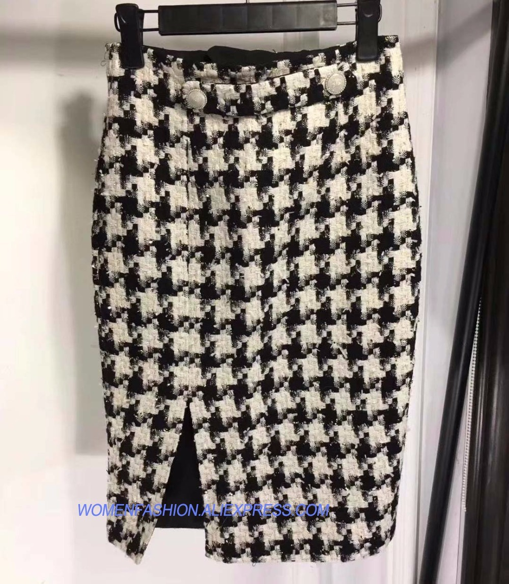 Swallow Gird Hara Haute Elasticoty Sauvage Tweed Taille Saia 2018 Plissée Mode Mince Vadim Juku De Couro Crayon Jupe XiTwkZuOP