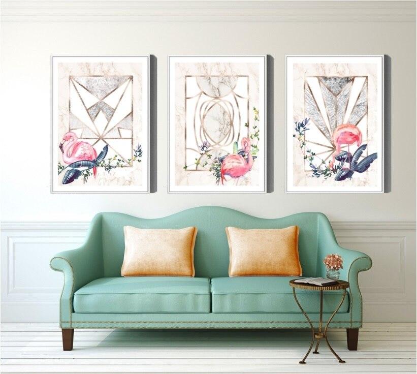 Style nordique de Frais Or Feuille Plante 3 Panneaux Toile Peinture Mur Photo D'art pour le Salon Décoration Pas Encadrée