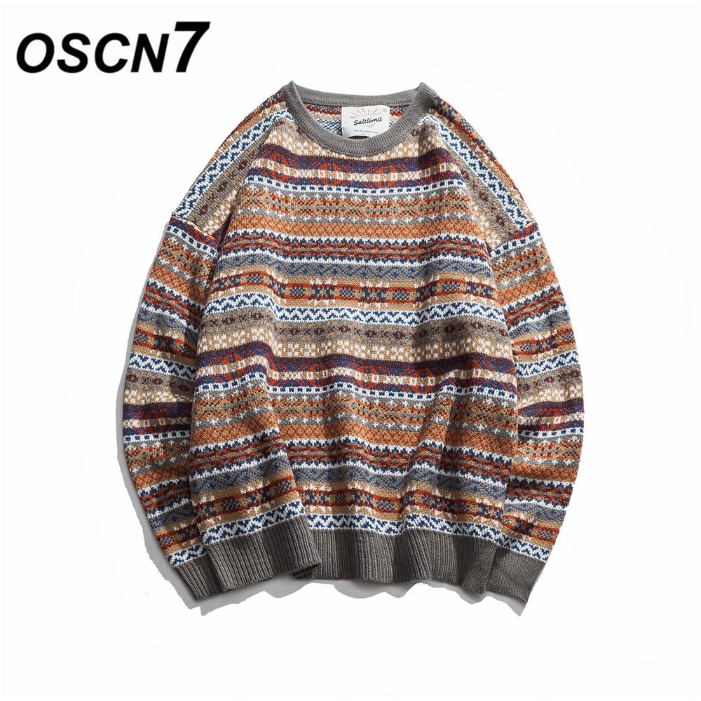 OSCN7 Folk-custom Sweaters Men 2018 New Autumn Fashion Mens Pullovers Round Neck Vintage Sweaters 84015