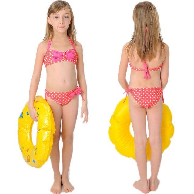 2ad902d6576c8 Fashion Teen Girl Summer Polka Dot Bow Halter Swimwear Swimsuit Little Kids  Bikini Swim Wear Clothes