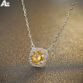 Morning Agent 925 Sterling Silver 45cm Necklace Fashion fancy yellow pendant necklace women girl trendy necklace