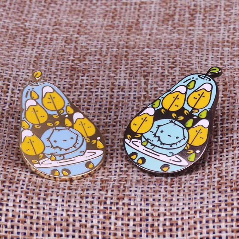 Pair of pears enamel pin cute fruit brooch pearringpattern mosaic  virus lapel badge artist gift kawaii themed adventure time jewPins
