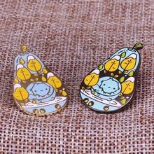 Pair of pears enamel pin cute fruit brooch pearringpattern mosaic virus lapel badge artist gift kawaii themed adventure time jew