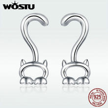 WOSTU Genuine 925 Sterling Silver Lovely Kitty Cat Funny Earrings Long Tail Small Stud Earrings For Women Wedding Jewelry DXE564(China)