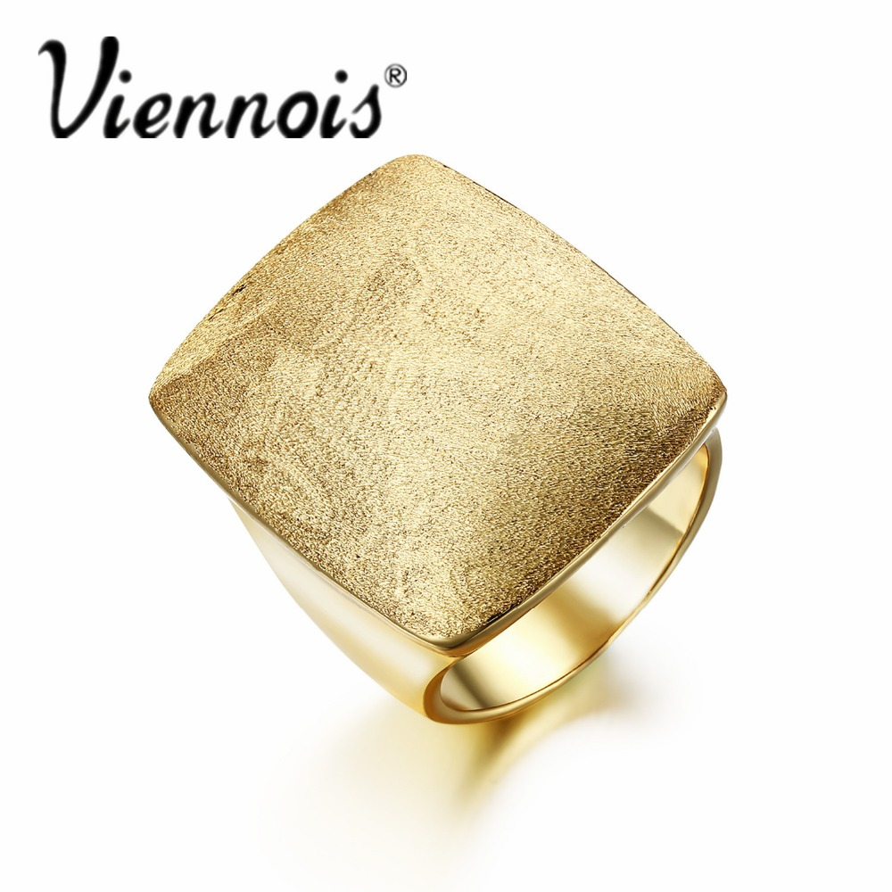 все цены на Viennois Size Rings for Woman Gold Color GB Geometric Jewelry Rectangular Weddings Party Rings