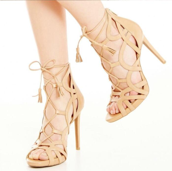 Summer Nice  Color Red/Purple Suede Lace Up Sandals Peep Toe Cut-Outs Cross Strappy Cage Sandal Booties Fringe Dress Shoes new arrival knee high boots cross strap cut outs gladiator sandal boots suede open toe lace up sandals summer women flat shoes