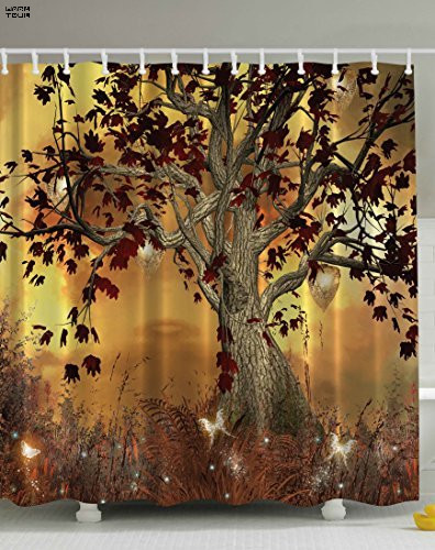 WARM TOUR Shower The Tree of Autumn Shower Curtain Waterproof ...