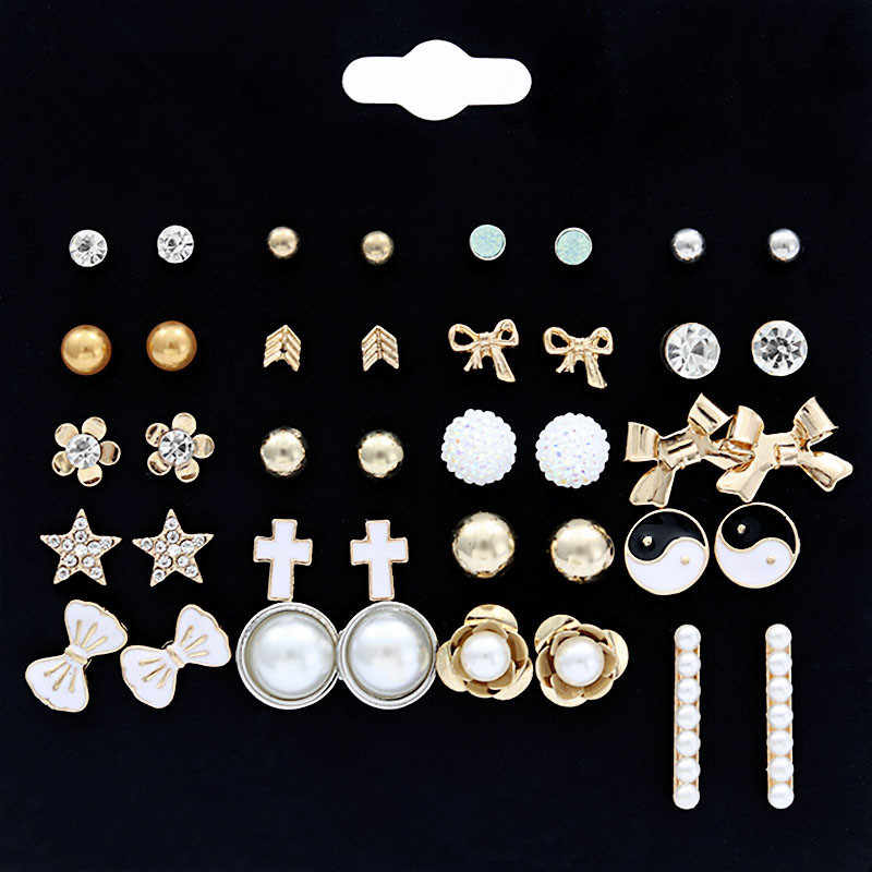 Punk 20 Pairs Pack Set Mixed Stud Earrings For Women Simulated Pearl Flower Ear Studs Fashion Earing Jewelry Brincos Wholesale