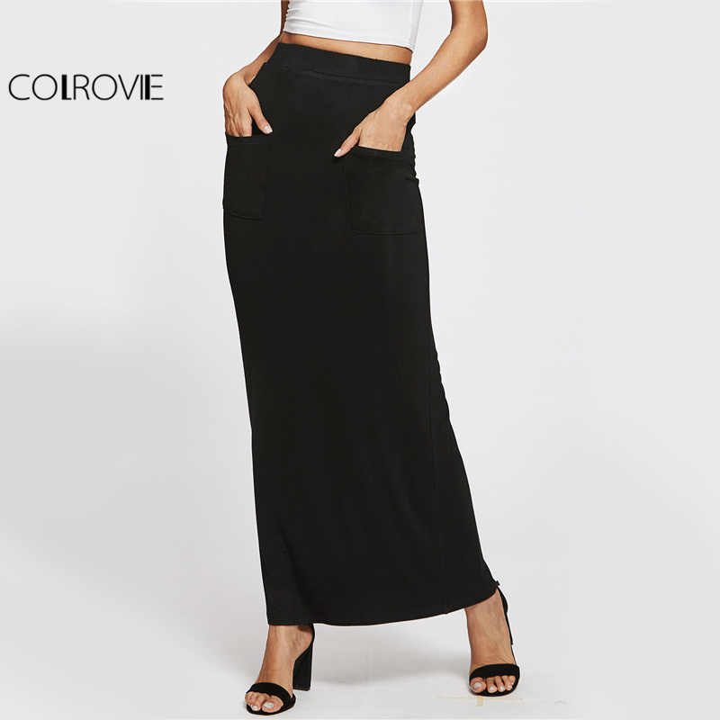COLROVIE Sheath Basic Maxi Skirt Elegant Women Casual Pockets Front Pencil Slim Summer Skirts Work Brief Autumn Long Skirt