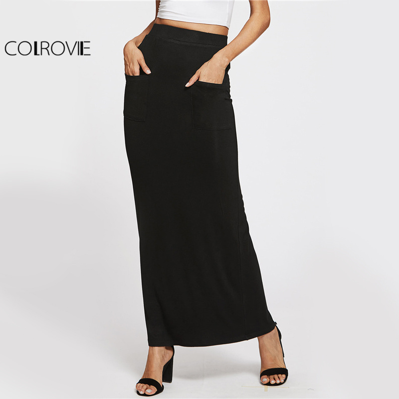 COLROVIE Sheath Basic Maxi Skirt Elegant Women Casual Pockets Front Pencil Slim Summer Skirts Work Brief Autumn Long Skirt