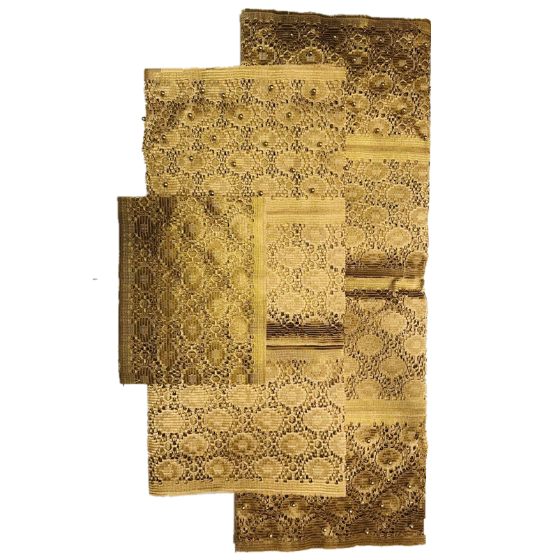 gold aso oke headtie with beads high quality aso oke headtie 3pieces per set 2018 aso