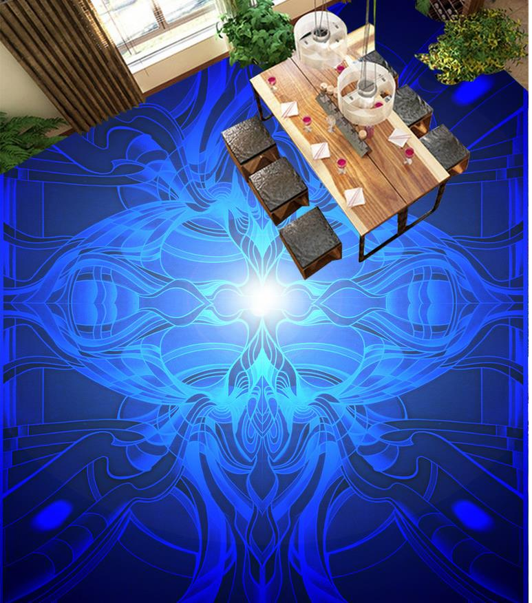 ФОТО Blue flower Floor wallpaper 3d for bathrooms Waterproof floor mural painting  self-adhesive 3D floor wallpapers