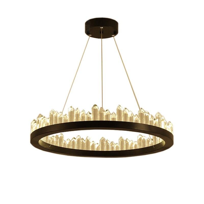 Удаленный Nordic Роскошные Природный кристалл кулон лампы круговой минималистский дизайнер Ресторан бытовой зал лампы