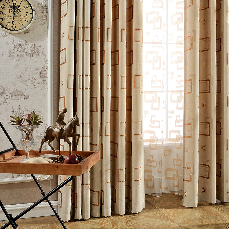 Home Modern Jacquard Faux Linen Blackout Curtains for Living Room Window Curtains for Bedroom Plaid Tulle Curtains