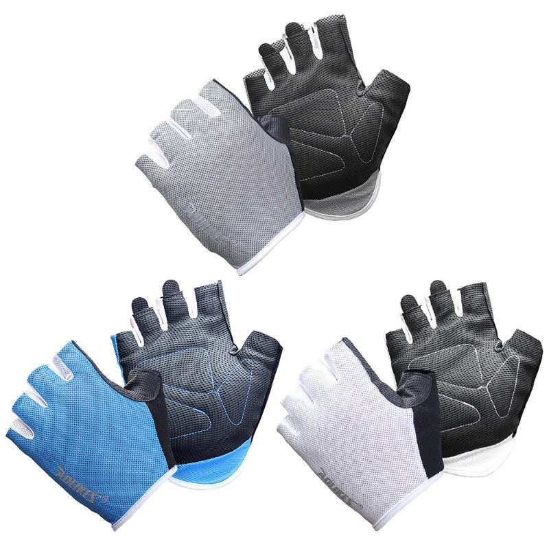 1Pair Breathable Half Finger Gloves Non-slip Gym Fitness Weight Lifting Short Finger Gloves Outdoor Sports Mitten Cycling Gloves