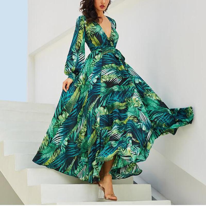 Femmes D'été Sexy Robe Longue Robes Verano 2018 Col En V Lanterne Manches Congé Vert Imprimer Mousseline de Soie Robe Maxi Automne Robe Robe