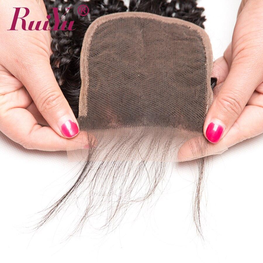 RUIYU Brazil Afro Kinky Curly Lace Closure 100% Penutupan Rambut - Rambut manusia (untuk hitam) - Foto 4