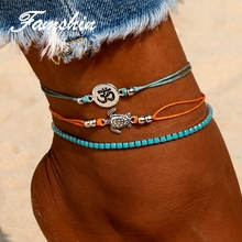FAMSHIN 3 PCS / Set Vintage Multiple Layers Turtle Anklet Nainen Bohemian Animal Anklet Set Kesä Beach Korut Osapuolet Gift